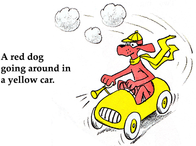 A red dog going around in a yellow car.